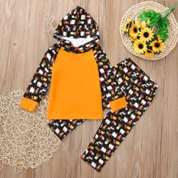 2Pcs-Baby-Girls-Boys-HalloweenCartoon-Hoodie-TopsPants-Clothes-Outfits-Set-0-0