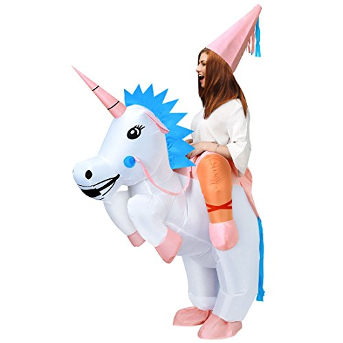 ANOTHERME Unicorn Rider Inflatable Costume for Adults Child Halloween Blow Up Fancy Dress