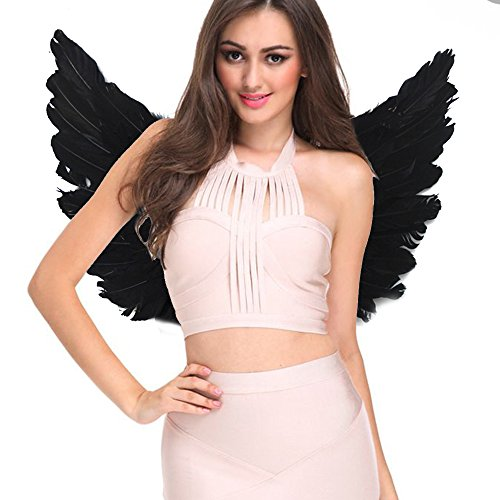 Angel Costumes for Women Kids Black White Feather Wings