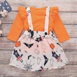 Baby-Halloween-DressLittle-Girls-Long-Sleeve-Tops-Strap-Skirt-2-Piece-Casual-Outfits-Set-0-1