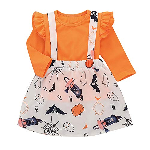 Baby Halloween Dress,Little Girls Long Sleeve Tops+ Strap Skirt 2 Piece Casual Outfits Set