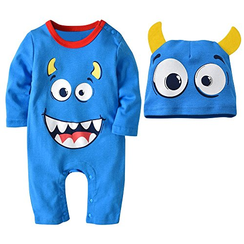 Clearance!! Baby Halloween Cute Romper Boys Girls Cartoon Jumpsuit+Hat Set Outfit