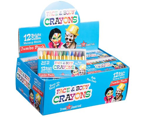 Dress Up America 12 Color Face Paint Safe & Non-Toxic Face and Body Crayons …