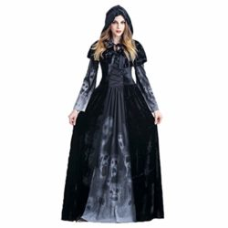 ENQI-TRADE-Womens-Halloween-Ghost-Witch-Hooded-Costume-Cloak-Dress-Outfit-Black-0-0