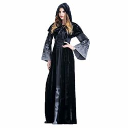 ENQI-TRADE-Womens-Halloween-Ghost-Witch-Hooded-Costume-Cloak-Dress-Outfit-Black-0-1
