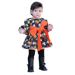 Halloween-Costume-Outfits-Toddler-Infant-Baby-Girl-Pumpkin-Ghost-Print-Belt-Dresses-0