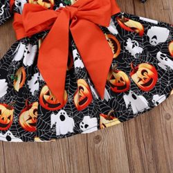 Halloween-Costume-Outfits-Toddler-Infant-Baby-Girl-Pumpkin-Ghost-Print-Belt-Dresses-0-3