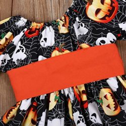 Halloween-Costume-Outfits-Toddler-Infant-Baby-Girl-Pumpkin-Ghost-Print-Belt-Dresses-0-6