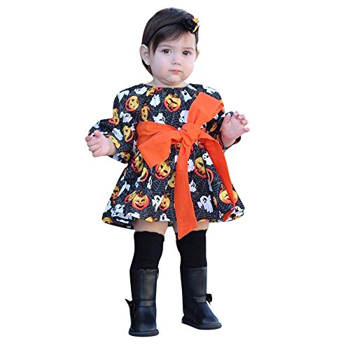 Halloween Costume Outfits Toddler Infant Baby Girl Pumpkin Ghost Print Belt Dresses