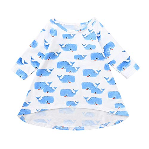 Hatoys Dress Toddler Baby Girls Cartoon Whale Print Dresses Outfits Clothing