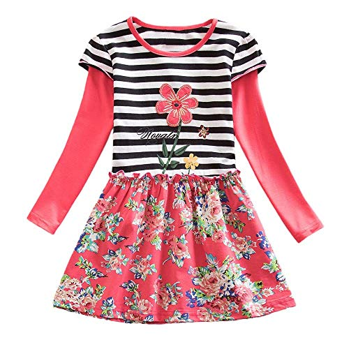 Hatoys Dresses Baby Girls Long Sleeve Stripe Floral Flower Party Dress Outfits Clothes