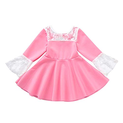 Hatoys Infant Baby Girl Long Sleeve Lace Dress Solid Bow Princess Clothes Dresses