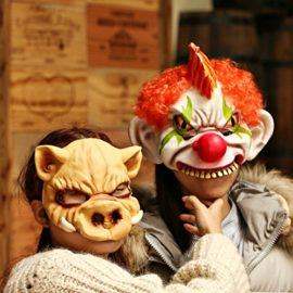 Horror-Evil-Clown-Mask-Chinless-Latex-Adult-Half-Face-Mask-Scary-Head-Red-Nose-Halloween-Prop-0-2