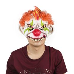 Horror-Evil-Clown-Mask-Chinless-Latex-Adult-Half-Face-Mask-Scary-Head-Red-Nose-Halloween-Prop-0