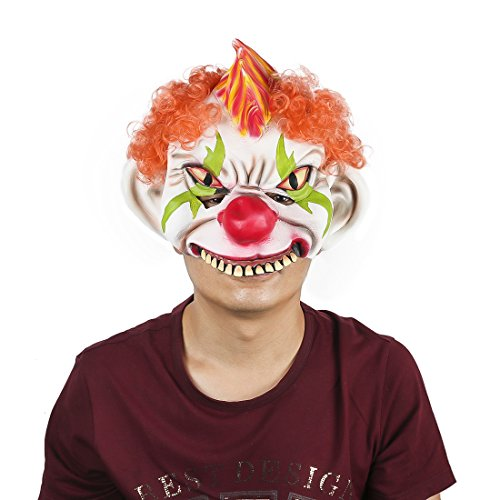 Horror Evil Clown Mask Chinless Latex Adult Half Face Mask Scary Head Red Nose Halloween Prop