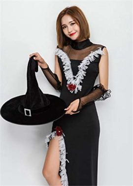 Tiaoqi-Women-Halloween-Classic-Black-Hollow-Sorceress-Witch-Costume-with-Hat-0-1