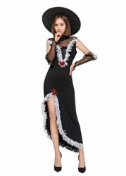 Tiaoqi-Women-Halloween-Classic-Black-Hollow-Sorceress-Witch-Costume-with-Hat-0