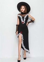 Tiaoqi-Women-Halloween-Classic-Black-Hollow-Sorceress-Witch-Costume-with-Hat-0-2