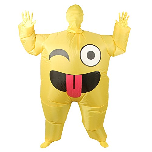 Vantina Adult Emoji Halloween Blow up Inflatable Costume Cosplay Clothing Funny Smile Cry Face Full Body