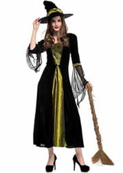 Womens-Halloween-Black-Wicked-Witch-Costume-Classic-Dress-with-Cap-0-2