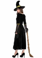 Womens-Halloween-Black-Wicked-Witch-Costume-Classic-Dress-with-Cap-0-3