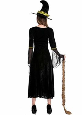 Womens-Halloween-Black-Wicked-Witch-Costume-Classic-Dress-with-Cap-0-4