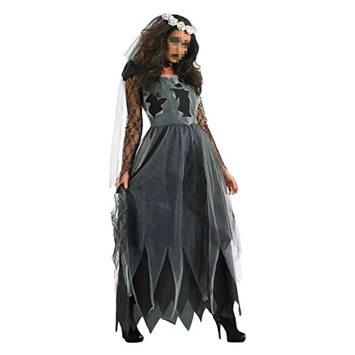 Women's Zombie Ghost Bride Costume Veil long Gothic Halloween Corpse Countess Graveyard Bride Costume Dress Outfits
