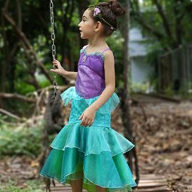 YaphetS-Little-Girls-Mermaid-Princess-Fancy-Costume-Fairy-Tales-Dresses-with-Free-Crown-Ring-and-Magic-Wand-0-3