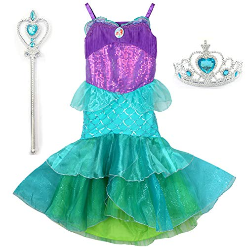 YaphetS Little Girls Mermaid Princess Fancy Costume Fairy Tales Dresses with Free Crown Ring and Magic Wand