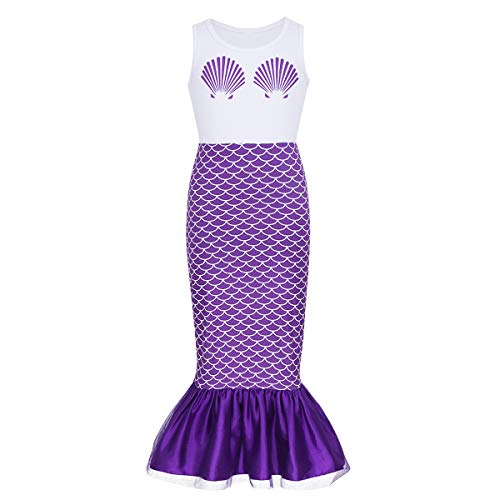 dPois Kids Girls' Mermaid Scales Printed Sleeveless Long Dress Halloween Theme Party Fancy Costumes
