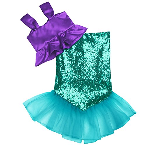 iEFiEL Kids Girls Shiny Sequins Mermaid Tails Party Holiday Costume Outfits Fancy Dress