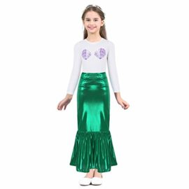 iEFiEL-Kids-Little-Mermaid-Dress-up-Skirt-Shell-T-Shirt-Outfit-Girls-Princess-Clothes-Halloween-Cosplay-Party-0-0