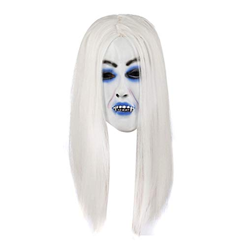 jingyuu White-haired Witch Novelty Halloween Masks Costume Masquerade Party Dance Party Prom Cosplay Mask